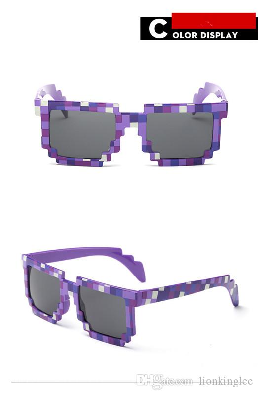 Hot Sale Vintage Square Mosaic Style Sunglasses Beach Mountain Climbing Sun Glasses For kids Adults Gift Pixel Eyewear Glasses Show Props