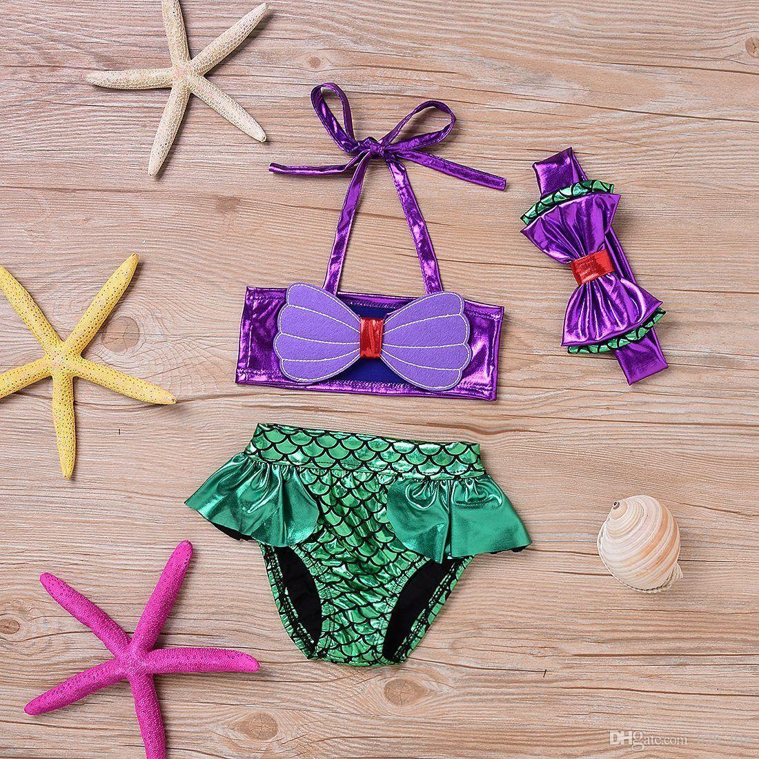 7aa7c3b73d Baby Girls Mermaid Swimsuits Tankini Bikini Swimwear Top+Brief + ...