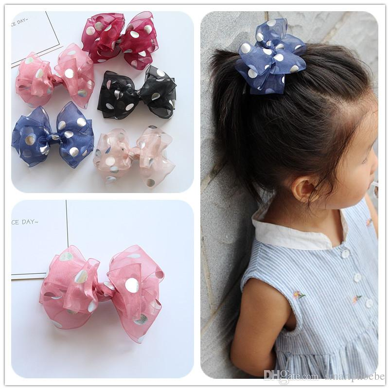 Boutique Mignon Mode Gaze Bow Pinces à cheveux Kawaii solides à pois bowknot Barrettes Princesse Headware Accessoires cheveux