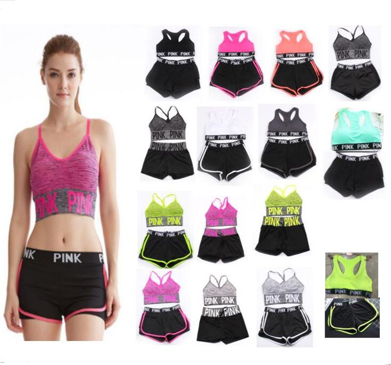 Pink Letter Tracksuit Women Summer Sport Wear Cotton Yoga Suit Fitness Bra Shorts  Gym Top Vest Pants Running Underwear Sets Online with  10.6 Piece on ... 7945a6150ed