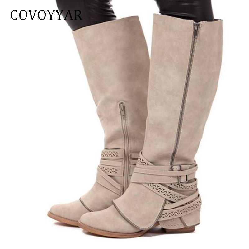 c4d46cdb0db COVOYYAR Hot 2018 Knee High Boots Women Side Zip Buckle Women Knight ...