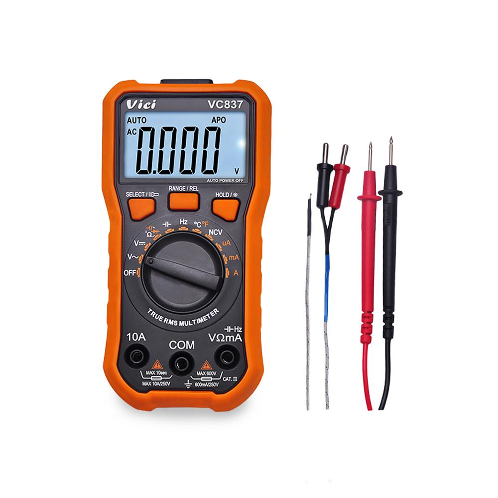 Mini multímetro digital NCV True RMS multímetro DC / AC Voltage Current Meter Frequency Capacitancy Resistance Diode Tester