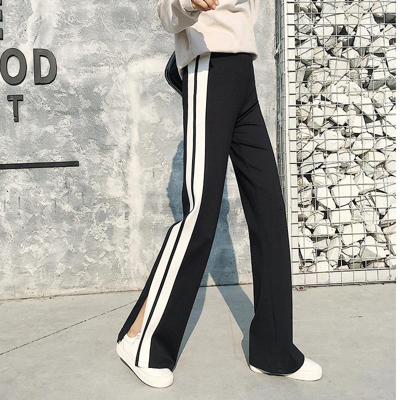 Spring High Waist Slim Casual Sportwear Pants Women Side Stripe Slit Wide  Leg Pants Floor Length Long Trousers Large Plus Size Y1891706 UK 2019 From  ... ae130cb7d73