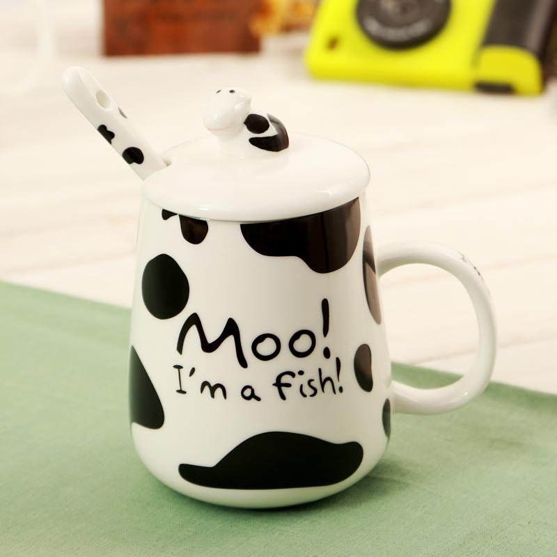 spot milk cow creative ceramic coffee mugs cartoon moo home office