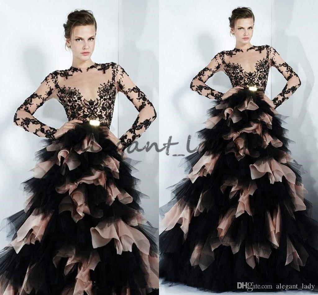 2018 Vintage Zuhair Murad Ball Gown Wedding Dresses Puffy Tulle Black Sheer Gothic Bridal Gowns Custom Long Sleeves Garden Marriage