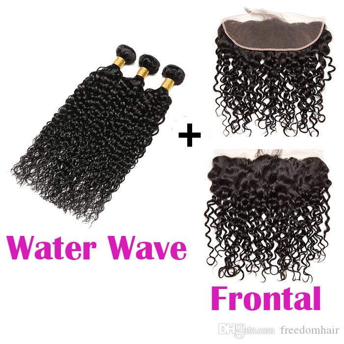 Water Wave Brazilian Human Hair Bundles With Frontal Brazilian