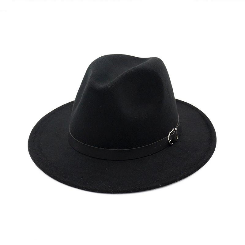 e40762defaa Unisex Men Women Wool Felt Fedora Hat Belt Buckle Decorated Wide Brim  Panama Jazz Cap Lady Church Formal Hat Trilby Flat Brim Hats Mens Straw Hats  From ...