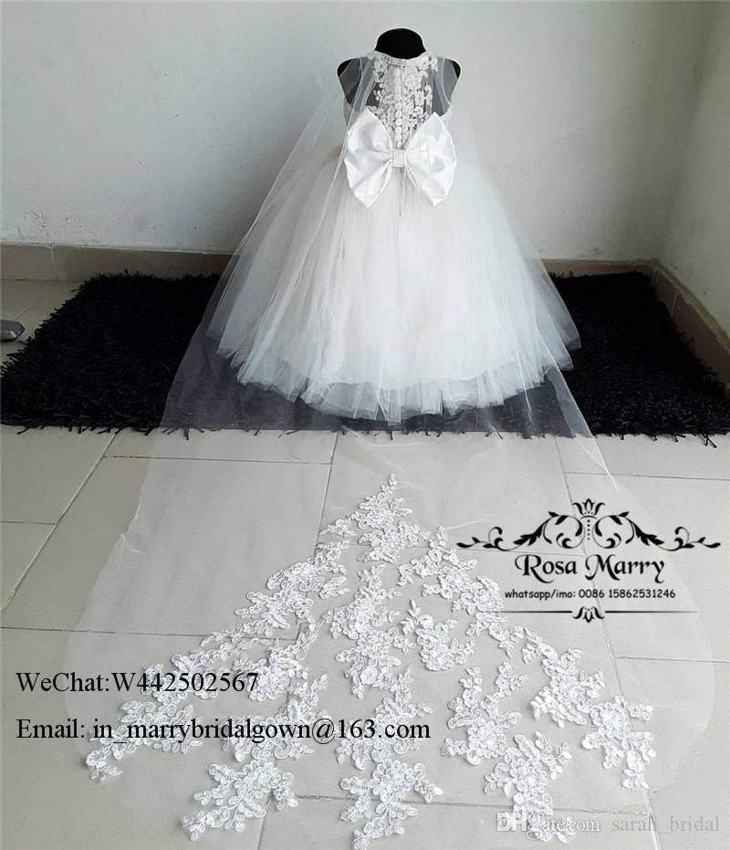 Lovely White Cheap Ball Gown Flower Girls Dresses for Weddings 2020 Vintage Lace First Communion Dresses Knot Bow Girls Pageant Prom Gowns