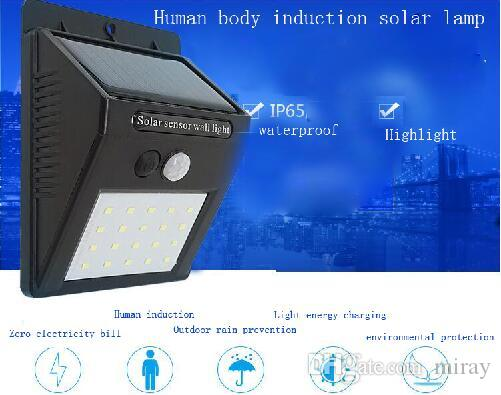 Solar energy wall lamp 20LED human body induction lamp outdoor waterproof garden courtyard wall lighting street lamp
