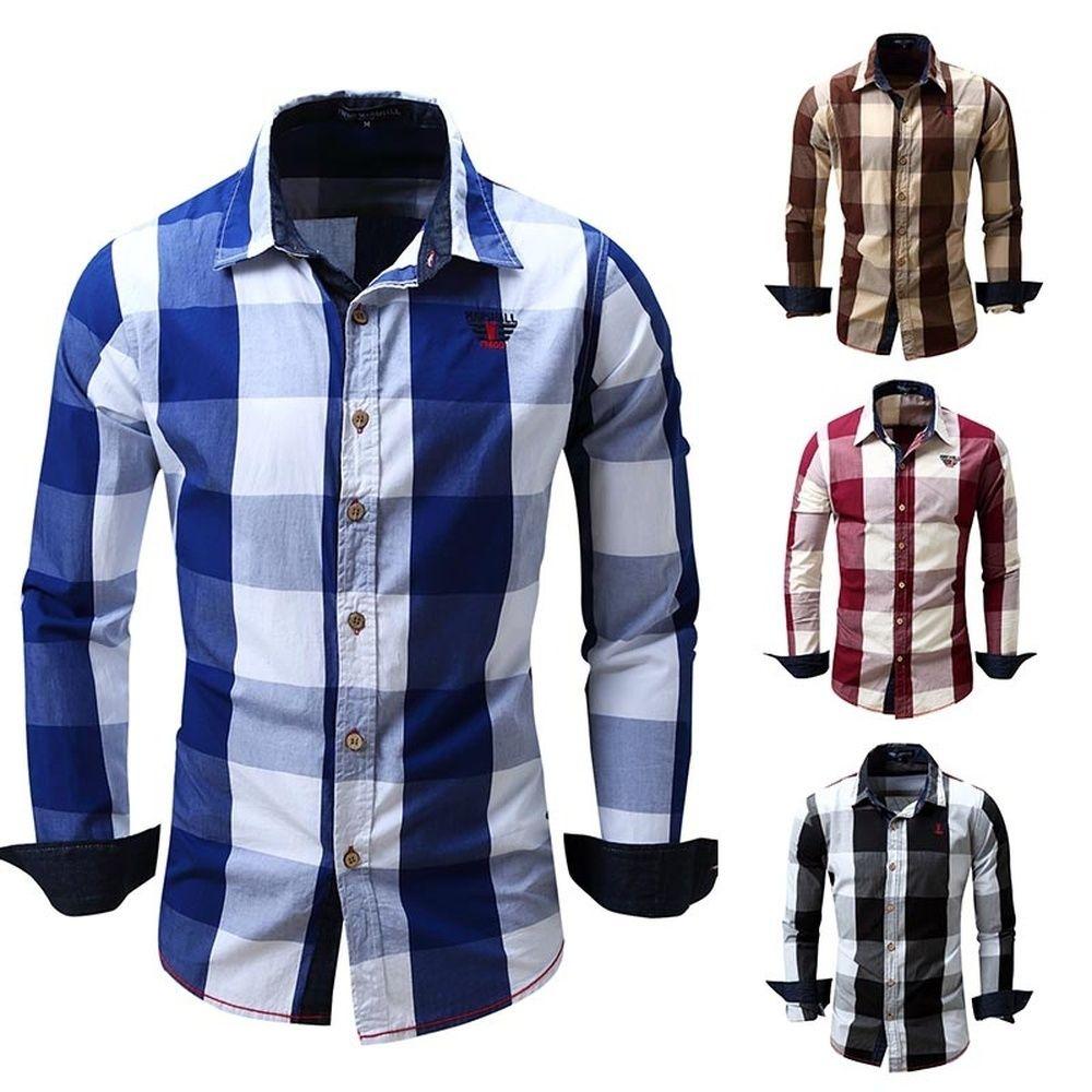 2019 Zogaa Brand New Plaid Shirt 2018 Mens Long Sleeve Shirt Autumn