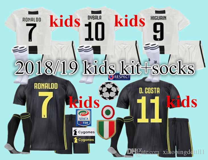 e4a16781f 2019 RONALDO JUVENTUS Soccer Jersey 2019 RONALDO #7 BUFFON 10 DYBALA 17  MANDZUKIC Custom 18 19 Home Away Kids With Socks Youth Football Shirt From  ...