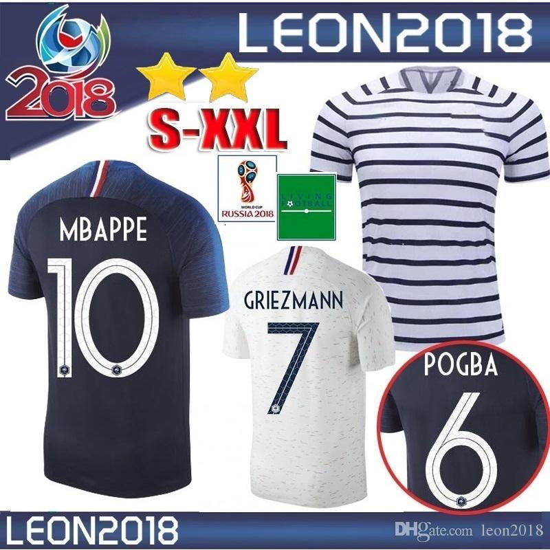 Cheap 2 Stars 2018 POGBA Jersey GRIEZMANN KANTE Mbappe Football Shirts 18  19 Home Away Soccer Jerseys DEMBELE Maillots De Foot 0de57008e