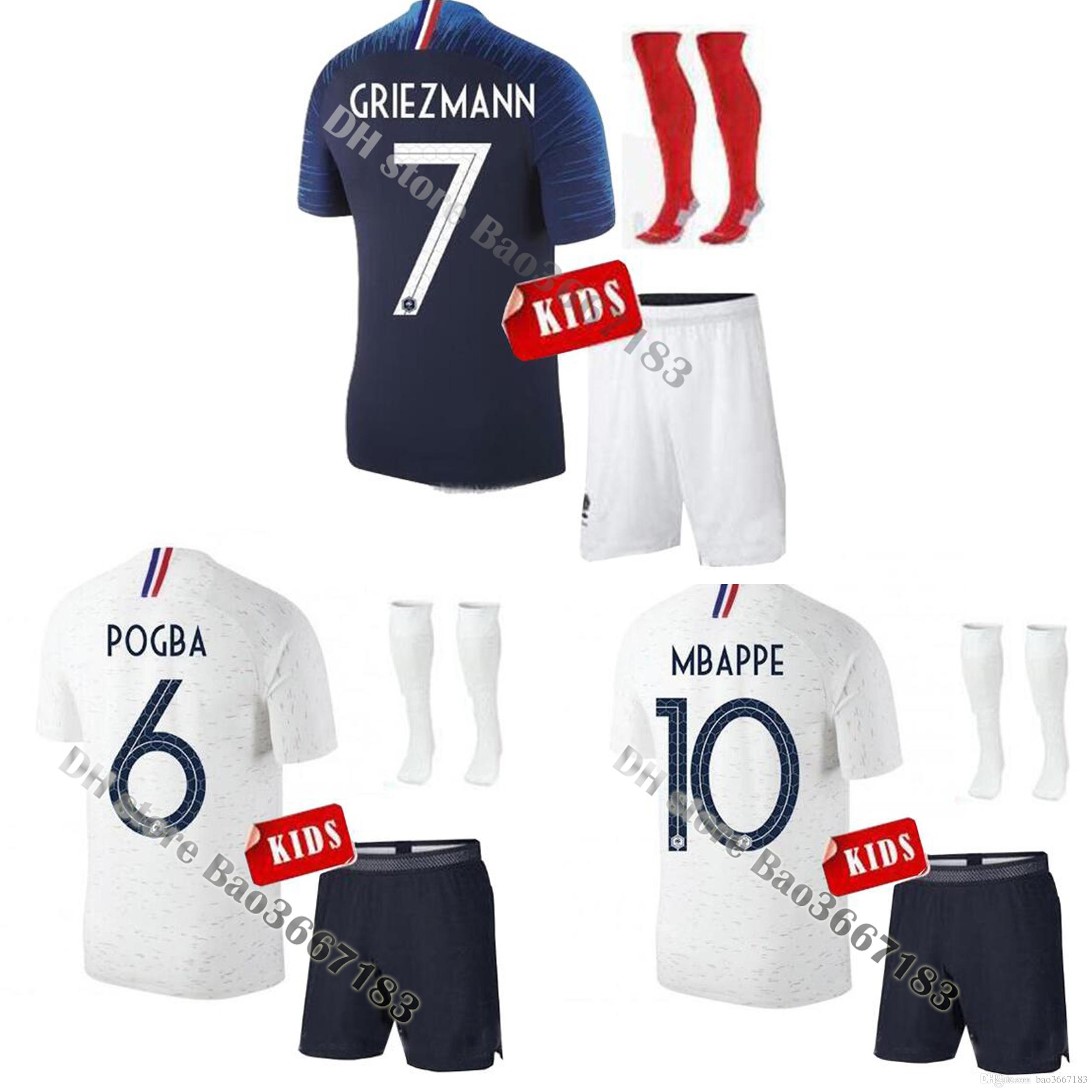 Kids 2018 World Cup New France Soccer Jerseys Kids Kit MBAPPE POGBA  GRIEZMANN GIROUD KANTE 2018 France Football Shirt Children 2018 World Cup  France Soccer ...