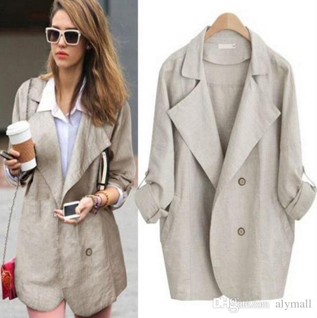 half off 8864e d2d98 Blazer di lino in cotone da donna Completo Cappotto di risvolto con collo a  bavero Giacca ampia monopetto