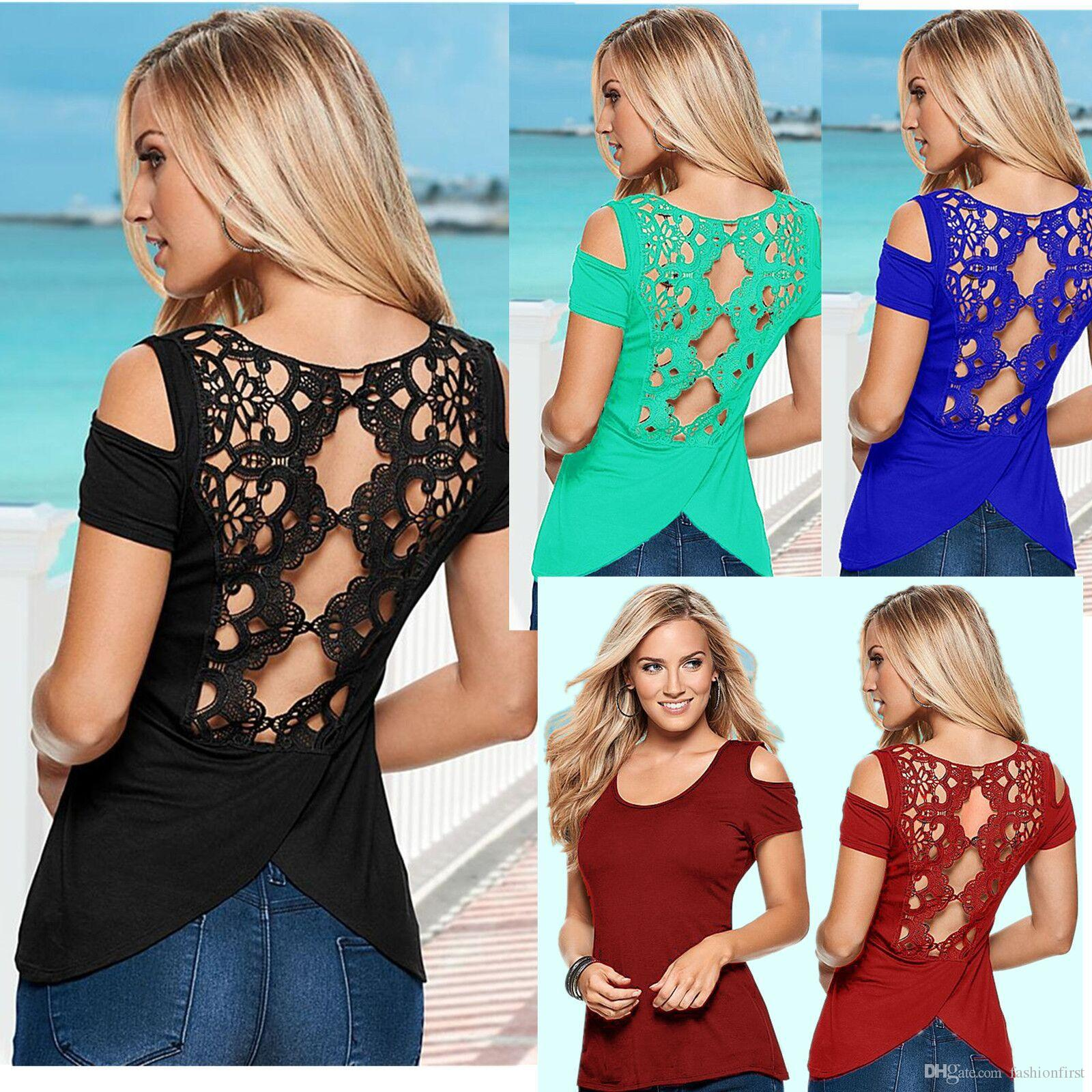 c068a7c230e Plus Size Back Lace Blusas Summer Elegant Women T Shirt Lace Crochet Short  Sleeve Cold Shoulder Split T Shirt Tee Shirt Shop Online One T Shirt A Day  From ...