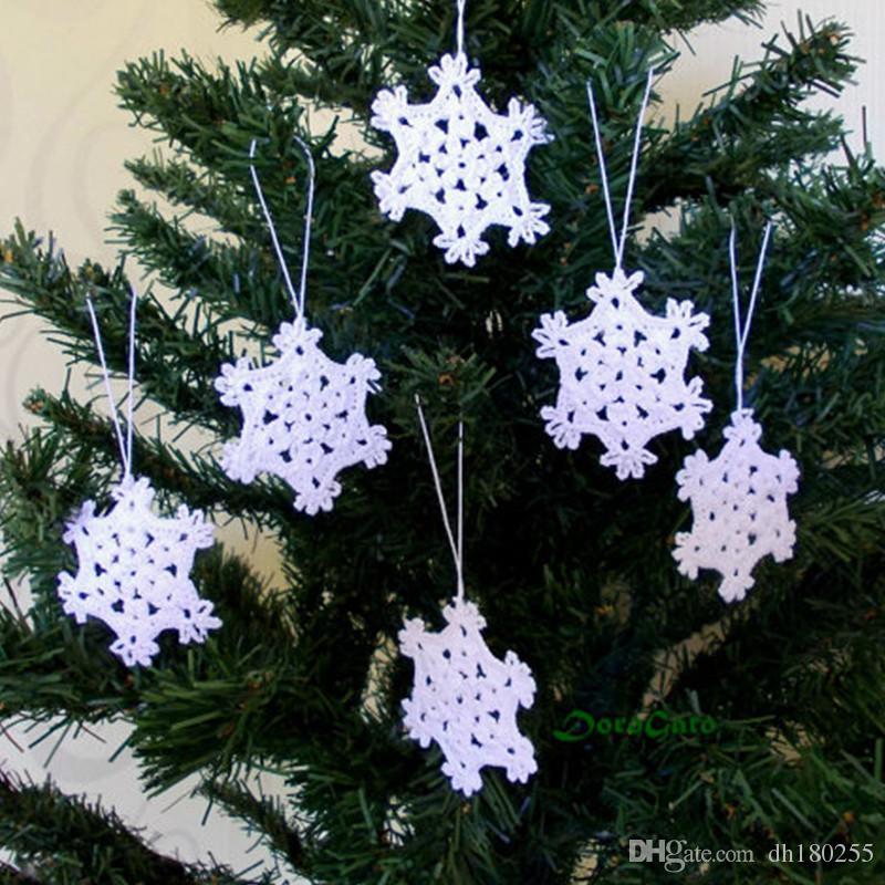Decorazioni Natalizie Fiocchi Di Neve.Acquista Fiocchi Di Neve All Uncinetto Appesi Ornamenti Bianco