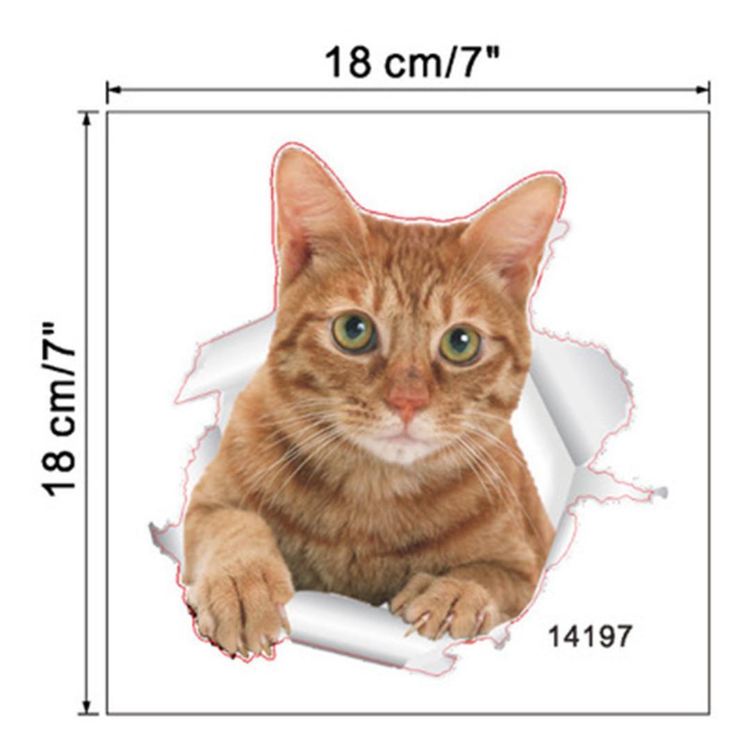 New Creative Hole View Vivid Cats Dog 3D Wall Sticker Bathroom Toilet Living Room Kitchen Decoration Animal Vinyl Decals Art Sticker