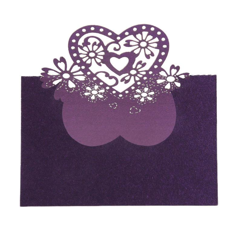 Wedding Table Decoration Place Cards Laser Cut Floral Wine Glass Place Cards Heart Shape Table Name Card For Party Decor