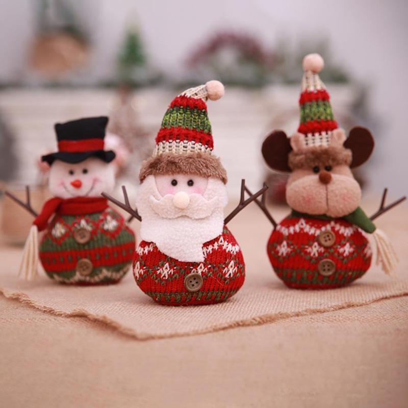 Christmas Decoration For Home Cute Mini Knitting Snowman Santa Claus
