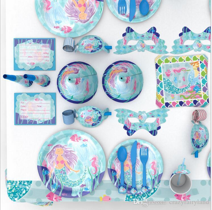 Grosshandel Einhorn Set Kinder Meerjungfrau Fussball Geburtstag Dekoration Hute Party Supplies Tassen Servietten Baby Pack Ereignis