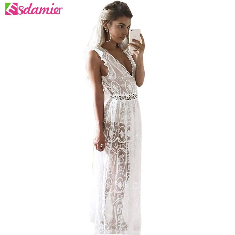 91dbfadb9c0 New Women Sexy Deep V Neck Backless Party Dress Slim Crochet Lace Maxi Dress  See Through Beach Dress Long Summer Sleeveless Robe Y1891107 Dress 1 White  ...