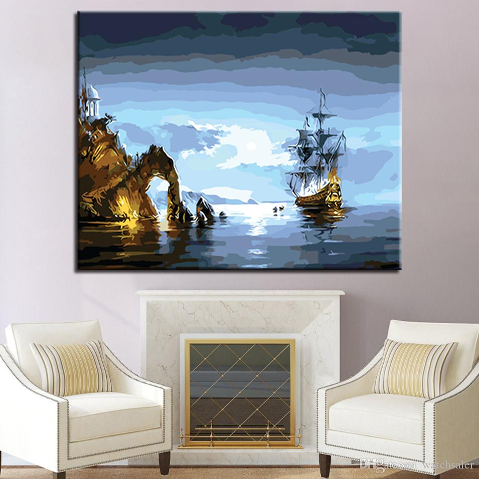 Diy Digital Sea Spectacle Hand Painted By Numbers Acrylic Pictures Abstract Wall Art Boat Canvas Oil Painting Home Decor