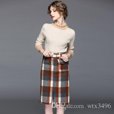 eeaf25298aa 2019 Women S Sweater Two Piece Dress Woolen Skirt Early Spring New Style  Half High Collar Knitted Sweater Upper And Plaid Woolen Slit Skit Sets From  Wtx3496 ...