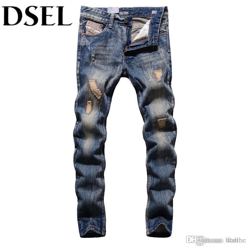 94f7a023ab9 2019 Wholesale Retro Designer Men Jeans European American Street Man  Clothing Stripe Jeans Mens Pants DSEL Brand Destroyed Ripped Jeans Men From  Wallne