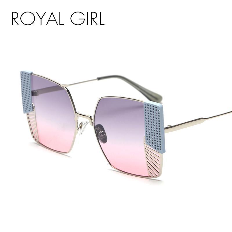 d35264d7940 ROYAL GIRL Square Sunglasses Women 2018 Brand Designer Black Pink Metal  Frame Sun Glasses For Female Gradient Lens UV400 SS313 D18102305 Heart  Sunglasses ...
