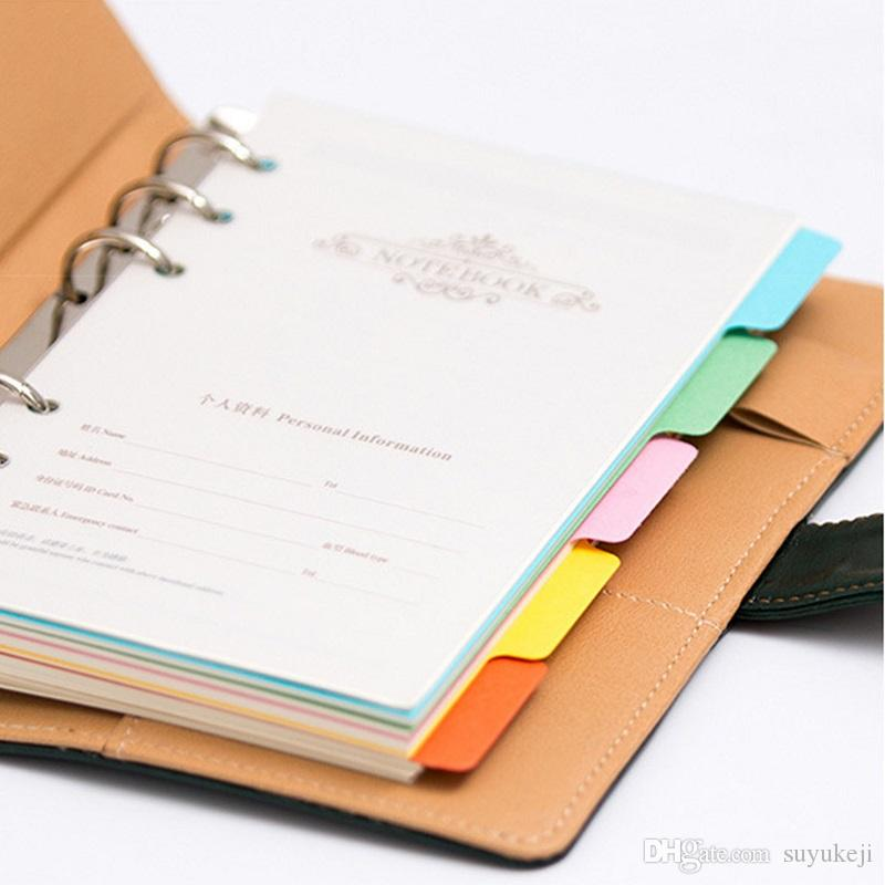 Colored Tabbed Index Divider For A5 A6 A7 Notebook 6 Ring Paper Category Page Tab Indexing Cards Refillable Lose Leaf Notepad