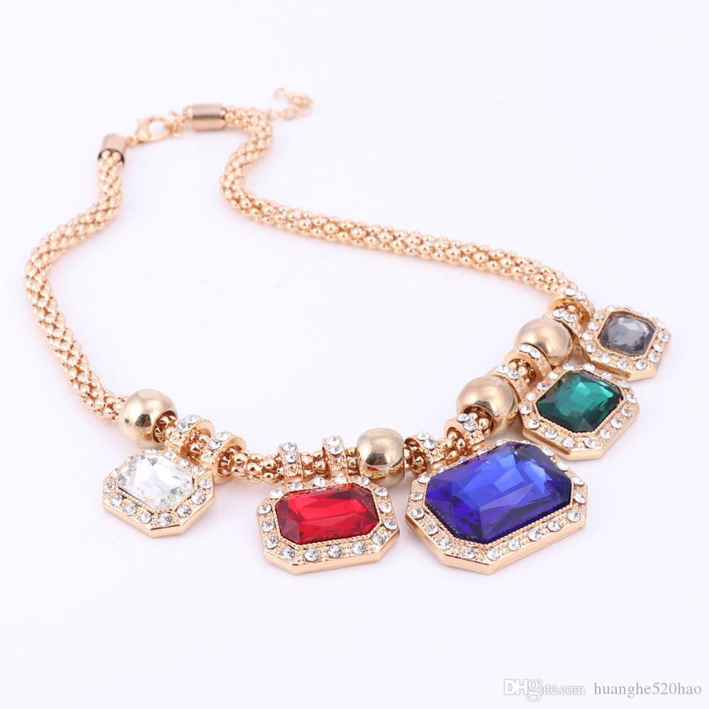 Wedding African Beads Jewelry Sets Gold-color Rectangle Pendant Necklace Earring Bracelet Ring Nigerian Jewelry for Women
