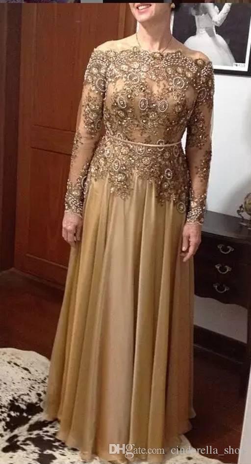 Oro Plus Size Madre della sposa Abiti manica lunga 2019 Bateau Una linea di perline di cristallo in rilievo chiffon lungo madre abiti da sposa
