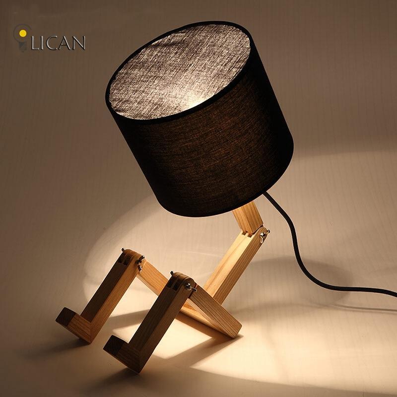 2019 Modern Wood Table Lamp Vintage Solid Wood Modern Desk Lamp