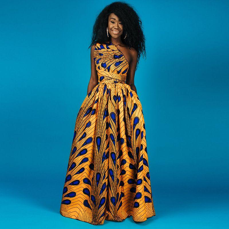 2019 2018 Womens Maxi Dress Traditional African Print Long