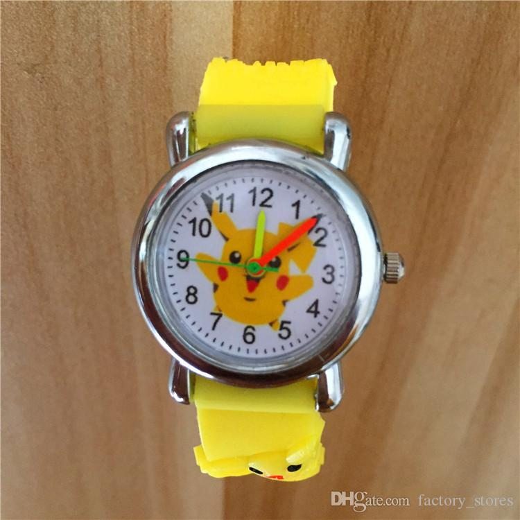 3D Cartoon Poke Go Pikachu Kids Watch Children Students Anime Cute Wristwatch Silicone Band Quartz Wrist Watch Gifts