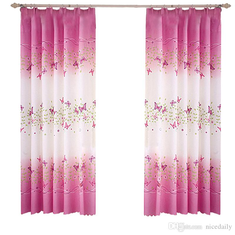 2 Panels Butterfly Flowers Printed Window Curtain Panels With Hooks For  Bedroom Living Room Kids Rooms Nursery Window Drapes   100 X200cm Blackout  Curtains ...