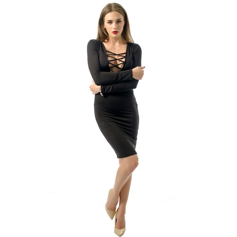 7fd0c291b5c3 Negro, rojo Vestido de mujer Plunge Escote en V Correas cruzadas Frente  Manga larga Vestido con vendaje Vestido de una pieza Club S-XXL