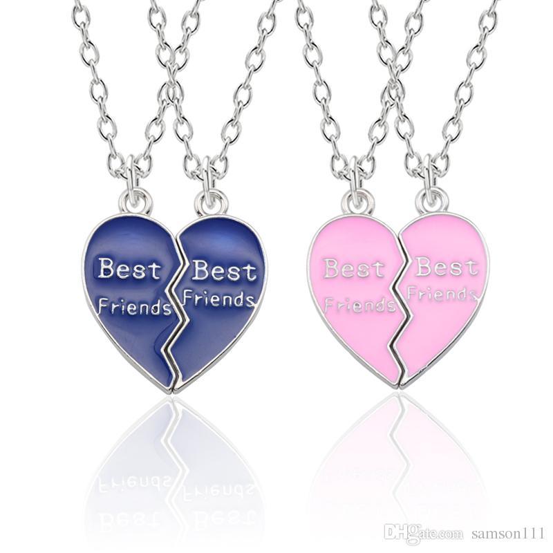 8f3d12109fde4 Best Friends Forever Necklace Women Enamel Colorful Puzzle Love Heart  Pendants Necklaces BFF Friendship Jewelry Collier Femme