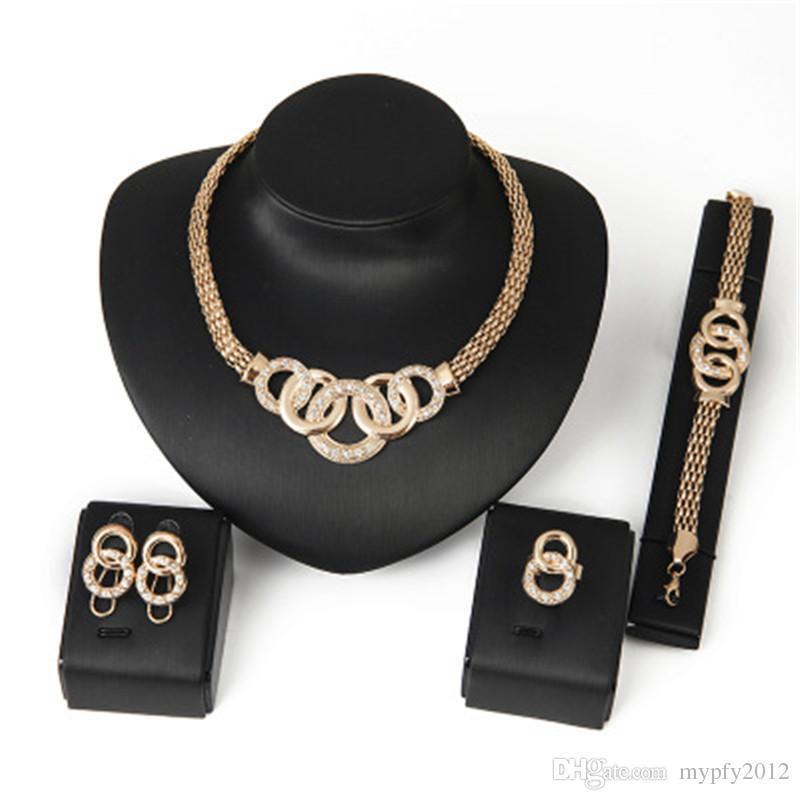 De calidad superior 18K chapado en oro macizo Declaración de la cadena del collar pendientes de la pulsera del anillo para la boda joyería fija el cristal de las mujeres 6 diseños
