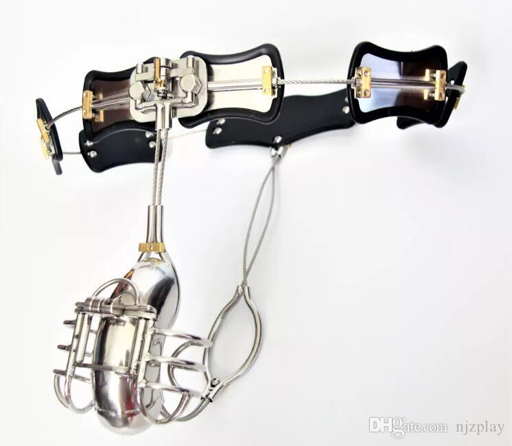 Newest!!! Male Chastity Devices Adjustable Stainless Steel Curve Waist Chastity Belt with Full Closed Winding Cock Cage BDSM Sex Toy bondage