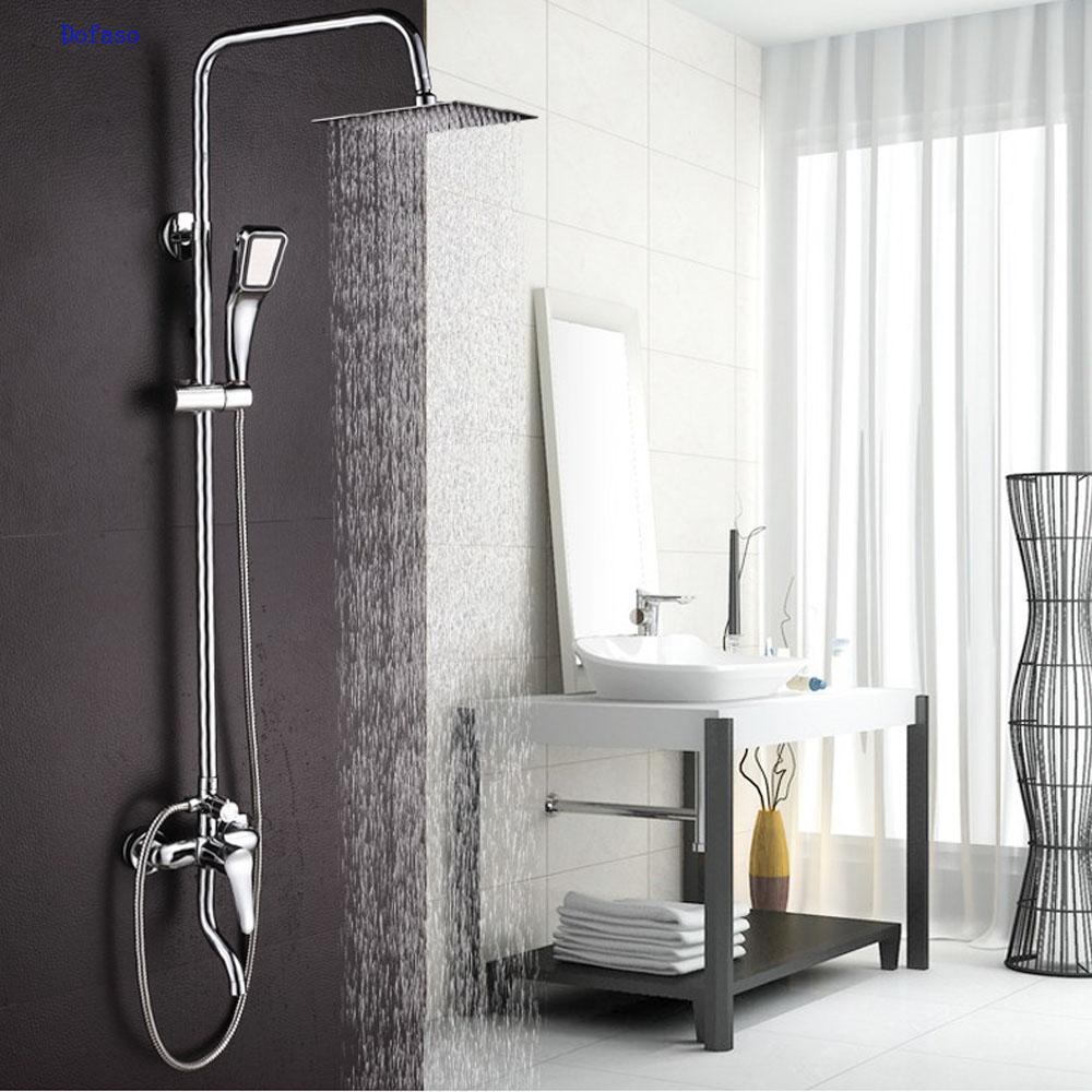 2018 Dofaso Copper Bathroom Rain Shower Sets Bath Tap Shower Faucet ...