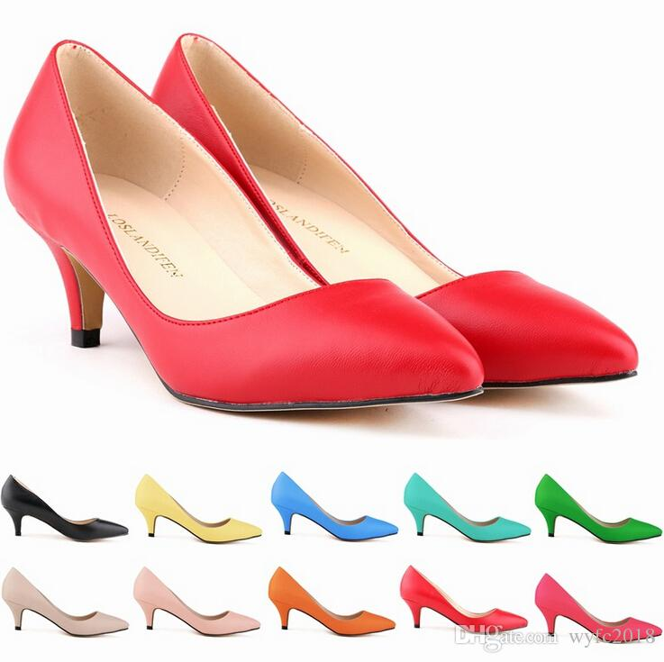 New Sapatos Feminino Fashion Womens Sexy Low Mid Kitten Heels Shoes Pu Patent Leather Pointed Pumps