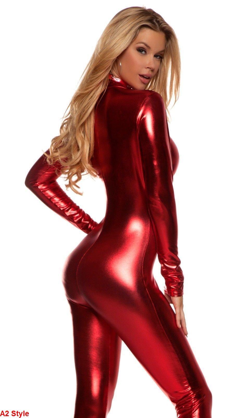 4 Style lycra rouge métallisé Spandex Zentai Catsuit Halloween Party Costumes-XXL