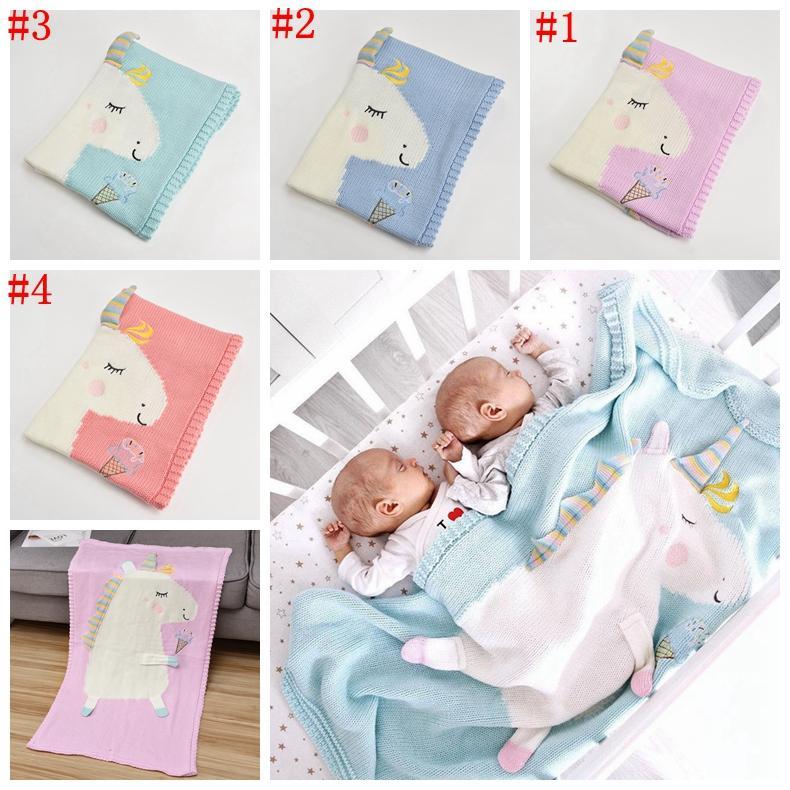 0bf3ad6cc Newborn Baby Blanket Bed Crib Toddler Unicorn Pattern Knit Blankets ...