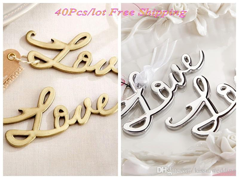2018 Elegant Wedding Guest Favors Of Silver And Gold Love Bottle