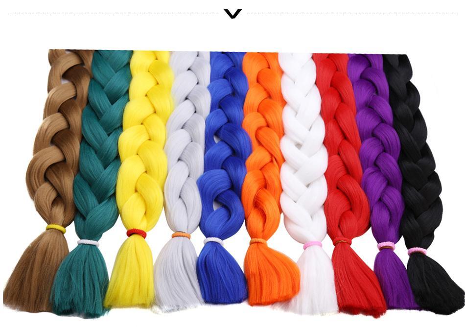 Синтетические Kanekalon плетение наращивание волос 82 дюймов 165 г / упак. длинные Джамбо косы крючком волос оптом фиолетовый розовый серый синий