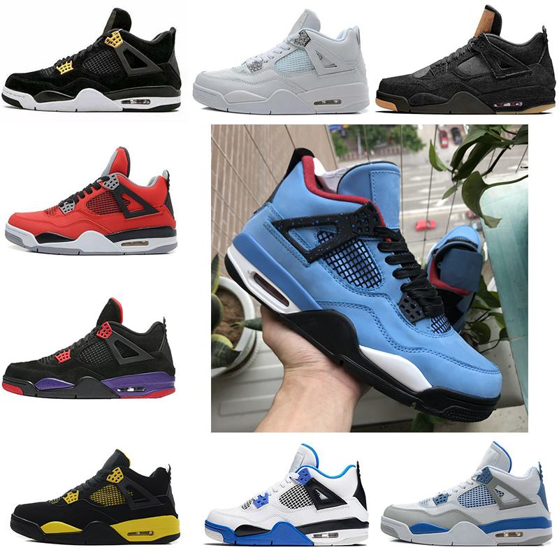 3036ac7f0dd1 2019 Travis Scott 4s Cactus Jack Mens Basketball Shoes 4 NRG Raptors Black  Cat Sport Shoes Military Blue Men Sneakers Trainers Designer Shoes From ...