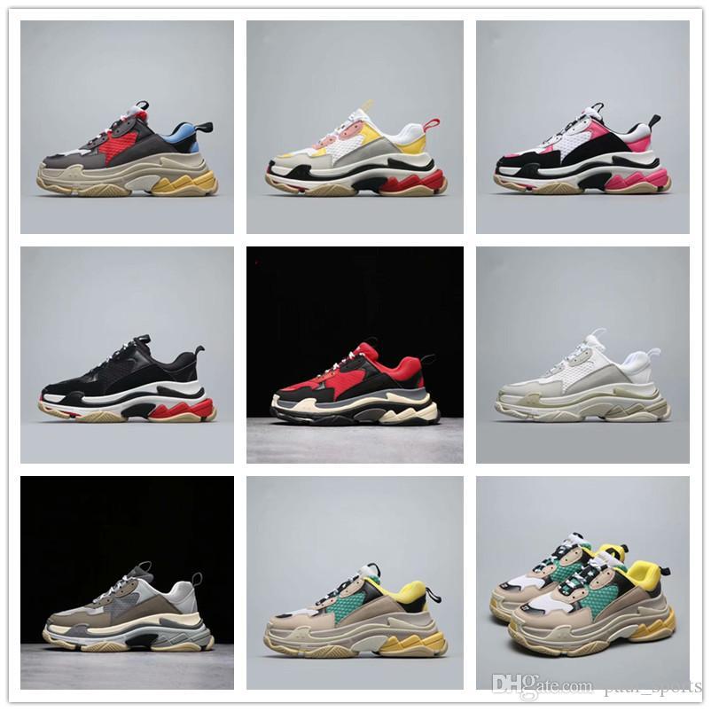 reputable site 9ae00 f6207 Acquista 2018 Vendita Calda Parigi Scarpe Di Design Di Lusso 17FW Triple S  Sneaker Retro Dad Sports Running AAA + Qualità Uomo Donna Classic Sneakers  Taglia ...