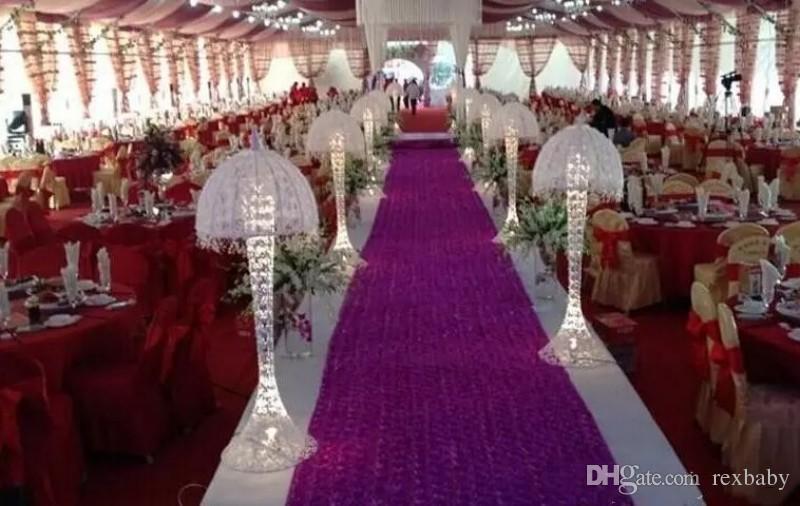 10M / الكثير 1.4 متر العرض الرومانسي الأبيض 3D روز البتلة السجاد الممر عداء لحفل الزفاف خلفية يرتكز الحسنات اللوازم الطرف الديكور