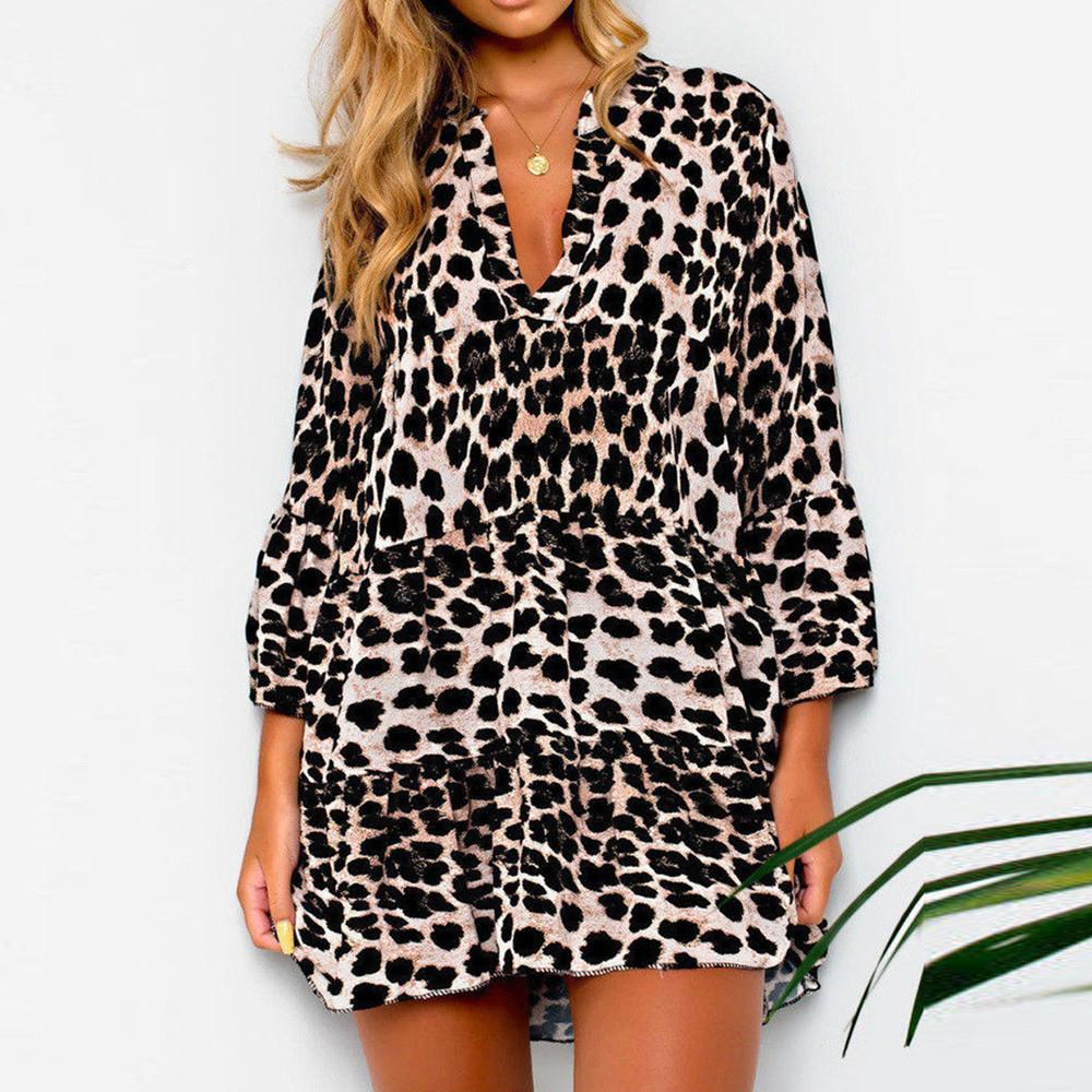 Feitong Modern Lady Mini Dress Women V Neck Leopard Print Frill Hem Dresses  Highstreet Party Dress  RN Dresses For Evening Party Party Formal Dresses  From ... 6f13a3e1890a